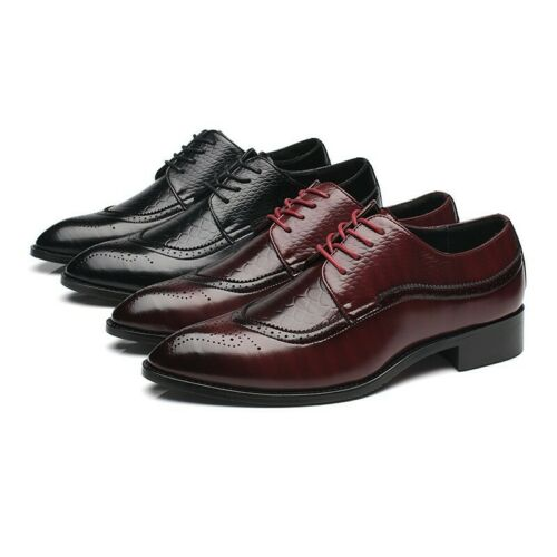Mens Brogue Faux Leather Lace Up Wedding Formal Business Dress Wing Tip Shoes