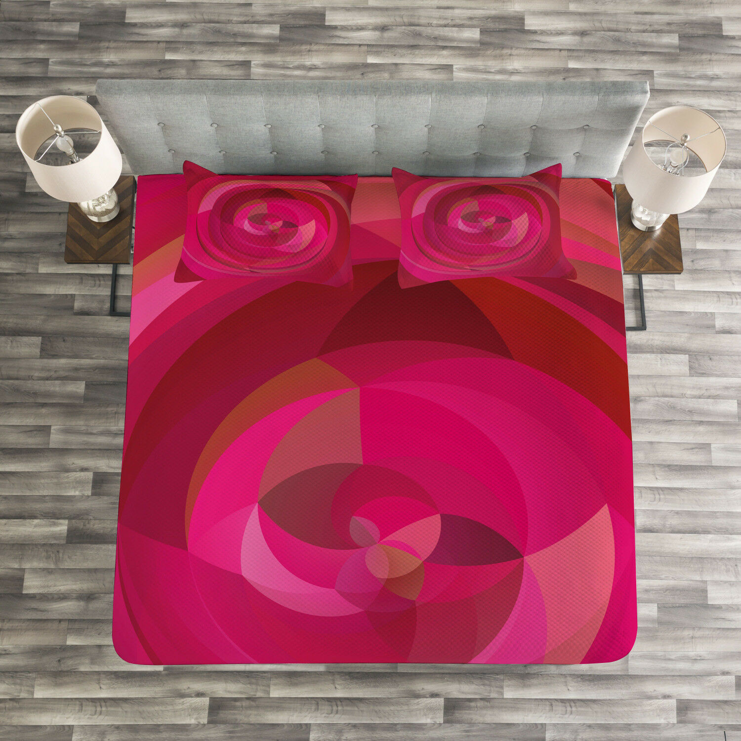 Hot Pink Quilted Bedspread & Pillow Shams Set, Abstract Swirls Shapes Print
