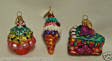 Christopher Radko CAKE ICE CREAM CONE CUPCAKE Glass Christmas Ornaments xmas