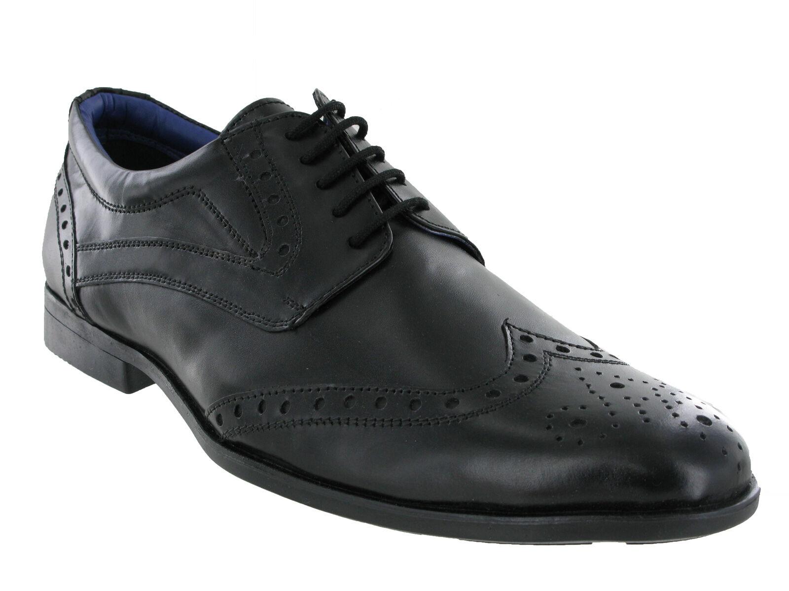 Route 21 schwarzes Leder Brogue Schnürbar Komfort Formeller Schuh Herren Größe
