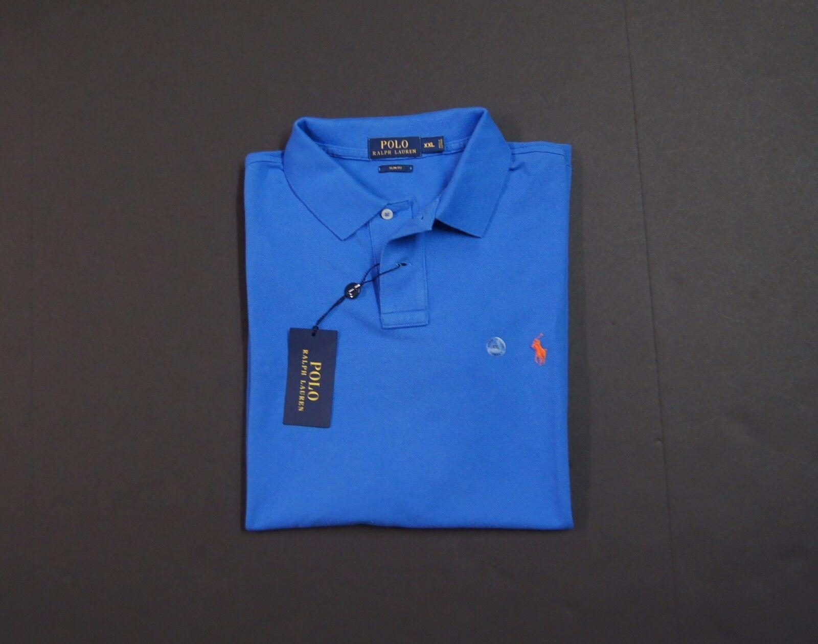 POLO RALPH LAUREN Slim Fit Mesh Cotton Polo Shirt Cyan bluee NEW NWT