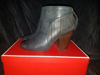 Coach Honey Ankle Boot Bootie Cut Out Leather Zip Blue Womens Sz 10 $355