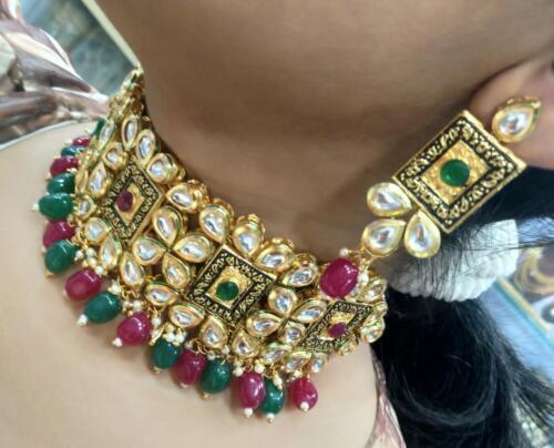 Real Kundan Necklace Set Bollywood Jewelry Ad CZ Polki Handmade Statement Set 5