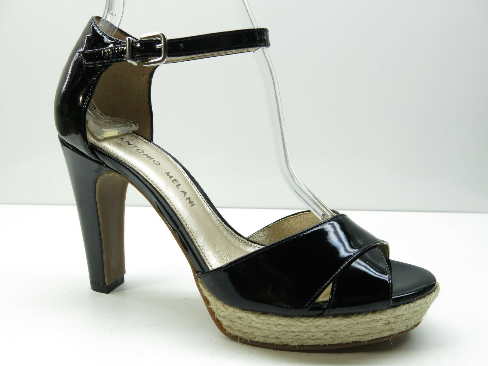 Antonio Pump Melani Black Patent Leather Strap Platform Sandal Pump Antonio 6.5M 6.5 MSRP $89 e08f7a