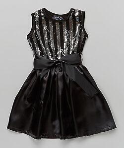 Black Stripe Sequin Dress - Infant, Toddler & Girls
