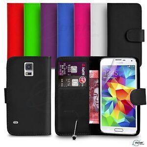Samsung-Galaxy-S5-FITS-Case-Premium-Leather-Wallet-Flip-Case-Mini-Stylus-SP