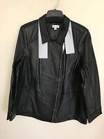 NEW Denim & Co Women's Lamb Leather Motorcycle Jacket Black 3X A255539 R1