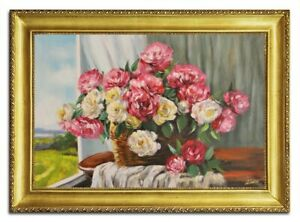 Oil-Painting-Pictures-Hand-Painted-Baroque-with-Frame-Art-G96505
