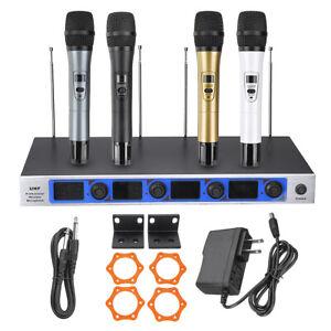 UHF-4x-PROFI-Funkmikrofon-DJ-Kabellos-Wireless-Karaoke-KTV-Hnadmikrofon-System