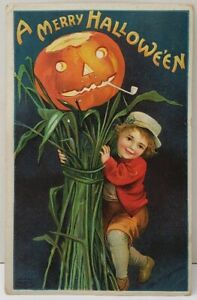 Clapsaddle-A-Merry-Halloween-Little-Boy-JOL-with-Pipe-on-Corn-Stalks-Postcard-F9