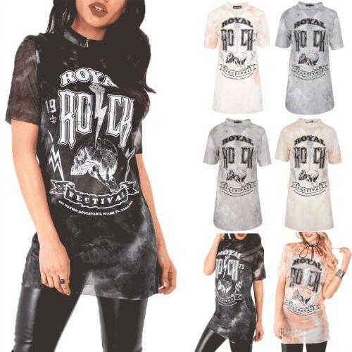 Womens Tie Dye Royal Rock Skull Lurex Sheer Mesh Burnt T-Shirt Party Dress Top