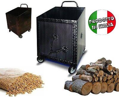 Carrello portalegna portapellet ferro battuto per pellet o for Carrello portalegna da arredamento
