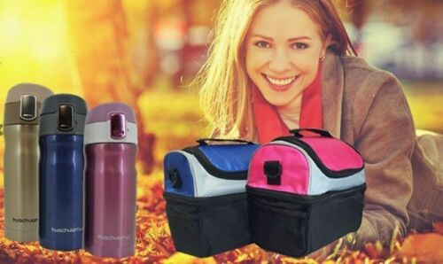 Thermal Travel Lunch Bag School Insulated Picnic Carry Box With Flask Portable
