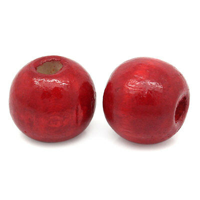 200PCs BD Wholesale Red Dyed Round DIY Wood Beads 12mmx11mm
