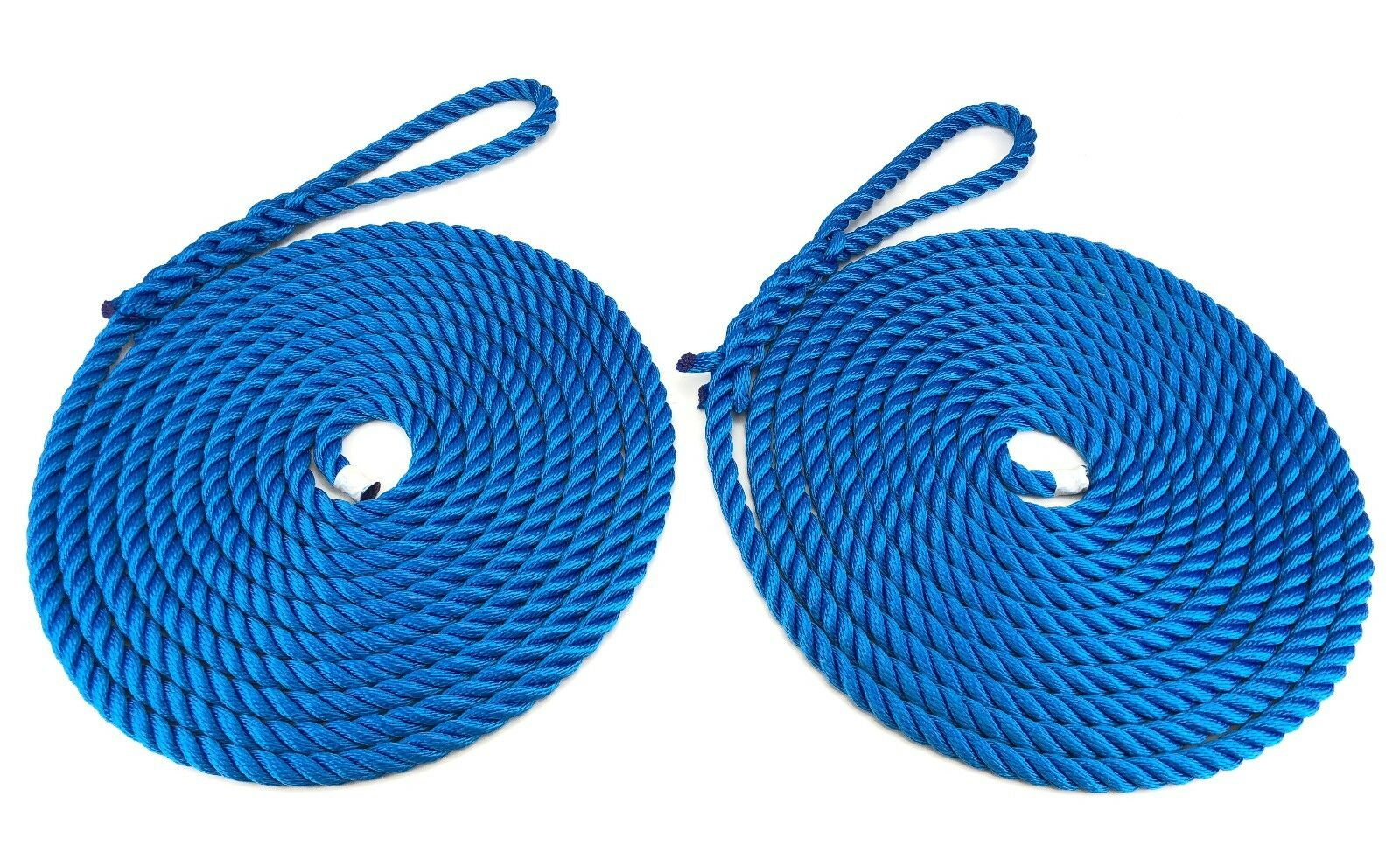 2 x 12 Metres of 16mm Royal bluee Mooring Ropes. Warps, Boat Lines, Yachts, Canal