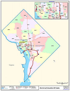 Washington DC Zipcode Laminated Wall Map | eBay