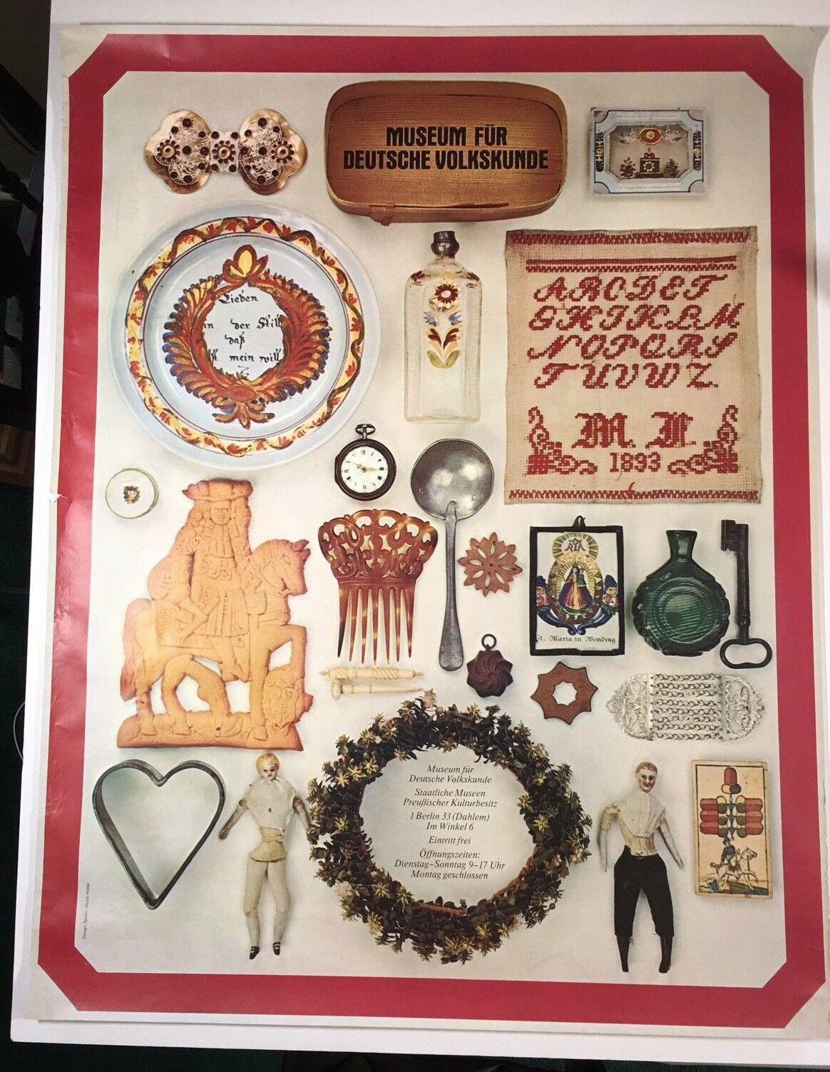 Museum Fur Deutsche Volkskunde Poster Vintage 1977 43 x 33  Design Spohn