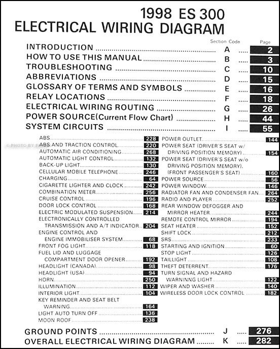 1998 Lexus ES 300 Wiring Diagram Manual 98 ES300 Electrical Schematics  Original | eBayeBay