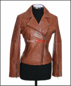 Jacket Biker Women's New Leather Tan Lamsbkin Ladies Style Erica Fashion Real wxZCvHI
