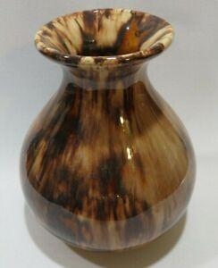 Vintage-Brush-McCoy-Art-Pottery-Brown-Onyx-Drip-Glaze-731-Squat-Vase-6-034