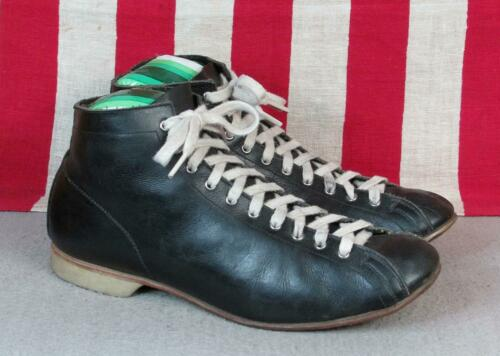 Vintage 1930s Black Leather High Top Athletic Shoe