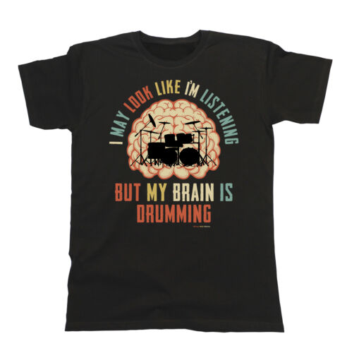 Boys Girls DRUMS T-Shirt My Brain Is Drumming Music Tee Drummer Kit Gift Funny