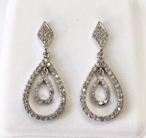 14K-White-Gold-0-29-Ct-Natural-Diamond-Drop-Dangling-Screw-Back-Earrings