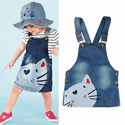 Summer Cat Print Baby Kids Girls Toddler Denim Overalls Jumper Dress Jeans Skirt