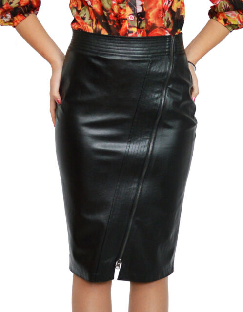 Office Hot Work Lined Pencil Bodycon Faux Leather Black Skirt 8 10 12 14 16 18