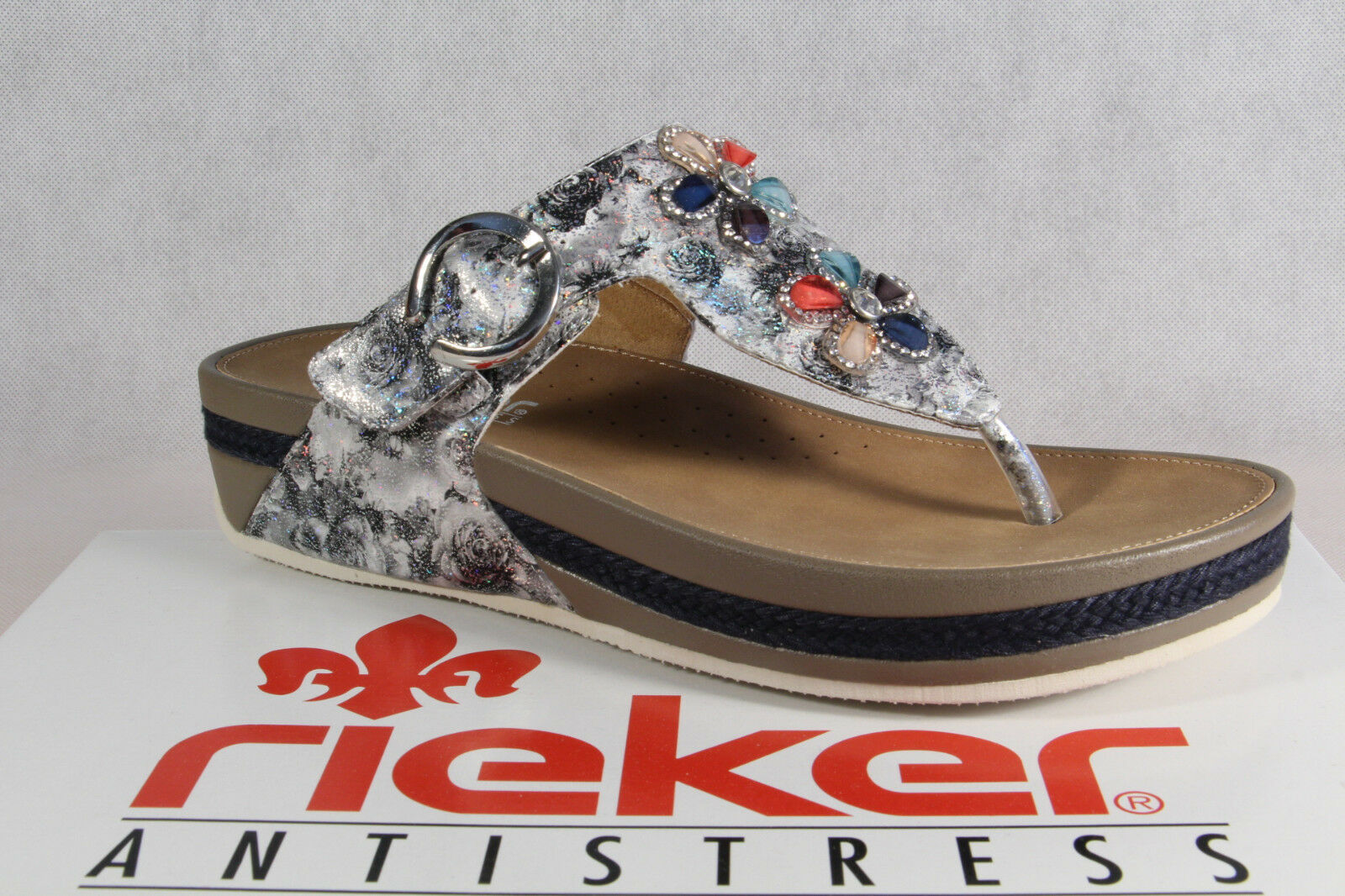 Rieker Donna dita dei piedi STEG Sandali Sandali Sandalo Sandali v1481 GRIGIO NUOVO!