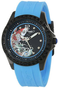 NEW-Ed-Hardy-TE-BL-Womens-Techno-Blue-Koi-Date-Dial-Black-Bezel-Blue-Strap-Watch