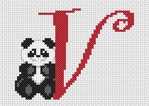 Alfabeto Panda-V-puntada cruzada contada Kit