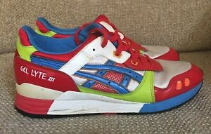 finest selection c2a28 e57b2 Details about MEN'S ASICS GEL LYTE III 3 RED WHITE BLUE GREEN SPLIT TONGUE  SNEAKERS SHOES 10.5