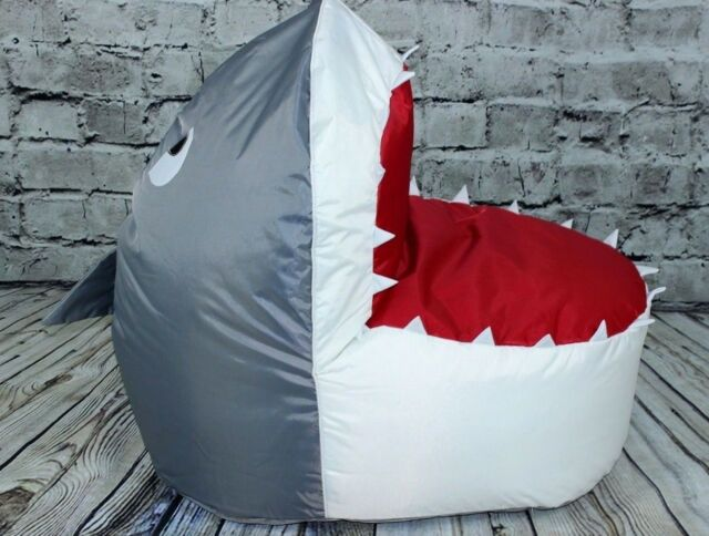 Kids Children's Extra Large Water Resistant Shark Fully Filled Bean Bag Chair
