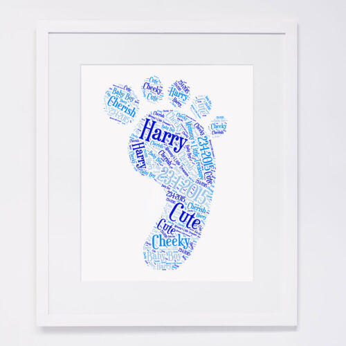 Personalised New Baby Christening Foot Print Wall Art Gift Baby Shower Baptism