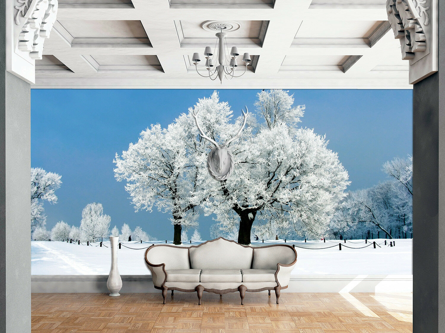 3D Sky Snow Tree 828 Wallpaper Mural Paper Wall Print Wallpaper Murals UK Lemon