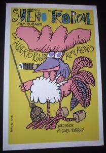 TROPICAL-DREAM-Cuba-Silkscreen-Movie-Poster-by-Famed-Cuban-Artist-BACHS