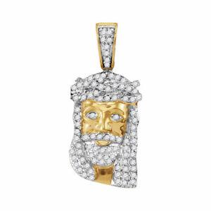 10k Gelbgold Herren Rund Diamant Klein Jesus Christus Kopf Charm Anhänger 1/3