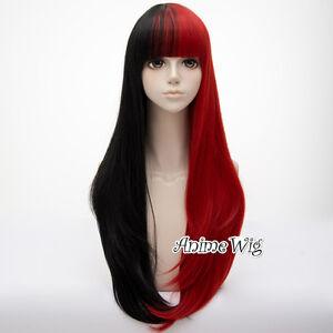 Harajuku-Lolita-Black-Mixed-Red-Long-Wavy-Bang-Women-75CM-Party-Cosplay-Wig-Cap