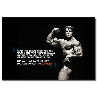 "CONQUER - Bodybuilding Motivational Silk Poster 24x36"" Arnold Schwarzenegger"