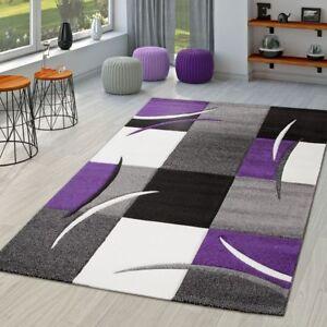 Lila Schwarz Wohnzimmer   Teppich Wohnzimmer Modern Palermo Mit Konturenschnitt In Lila Grau