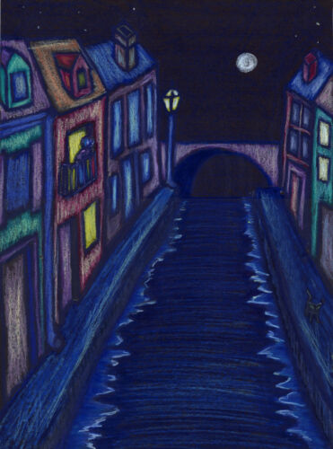 Quiet Moonlit Night ACEO Whimsical Art Print from original oil pastel dcurtis