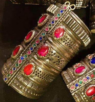 Vintage Tribal Two Hinge Pakistan Statement Cuff Bracelet