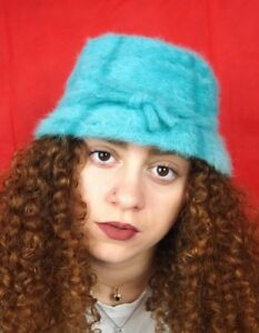 Image is loading Turquoise-Barbie-Vintage-90s-style-Fluffy-Bucket-Hat ef00146cf2a