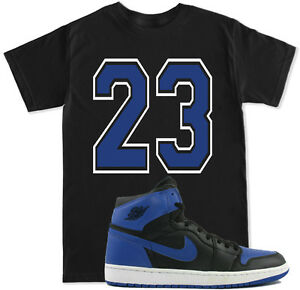 bf64467b268 Details about 23 Royal Blue T Shirt to match with Air Jordan RETRO 1 Black  Royal Blue OG Shoes