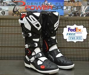 Black//White Sidi Sidi Crossfire 2 SRS Motorcycle Boot Size 43