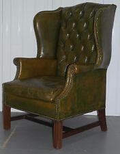 GEORGIAN CHESTERFIELD AGED GREEN LEATHER WINGBACK FIRESIDE ARMCHAIR GEORGE III