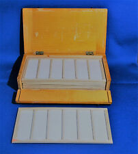A characterful antique wooden (pine) microscope slide box for 48 slides