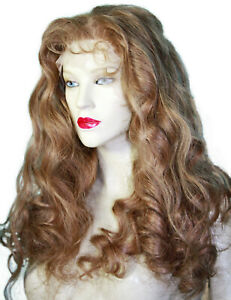 REAL-Human-Hair-Front-Lace-Wig-Remi-Remy-Indian-Brown-Curly-Wavy-Body-Wave-Long