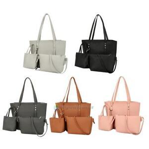 b78c4e48ae Image is loading 3pcs-Women-Ladies-PU-Leather-Handbag-Shoulder-Bag-